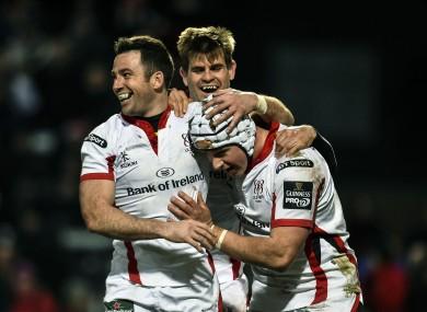 Ulster celebrate Luke Marshall's try.