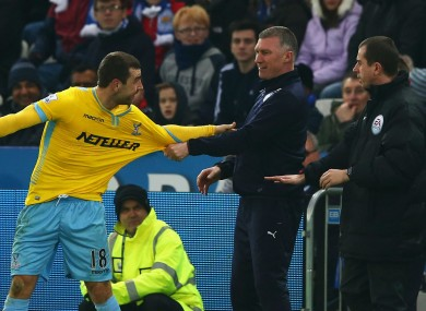 Leicester boss Nigel Pearson and Crystal Palace midfielder James McArthur exchange words