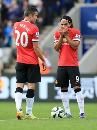 United forwards Van Persie and Falcao.