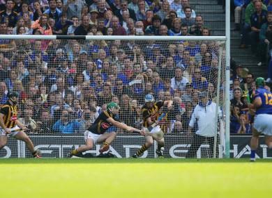 John O'Dwyer fires in a penalty against Kilkenny in last year's All-Ireland hurling final.