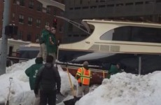 A 43-foot yacht got stuck in the snow in Boston and blocked traffic for hours