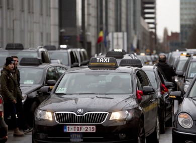 Taxi drivers in Brussels, Belgium protested against Uber earlier this month.