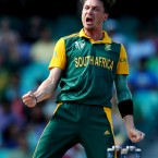 South African bowler Dale Steyn celebrates after taking the wicket of Sri Lanka's Tillakaratne Dilshan during their Cricket World Cup quarterfinal match in Sydney, Australia. (AP Photo/Rick Rycroft)<span class=