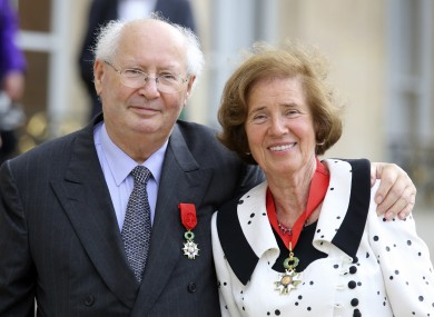 Nazi hunters Serge and Beate Klarsfeld  after being awarded with the Legion of Honor in 2014.