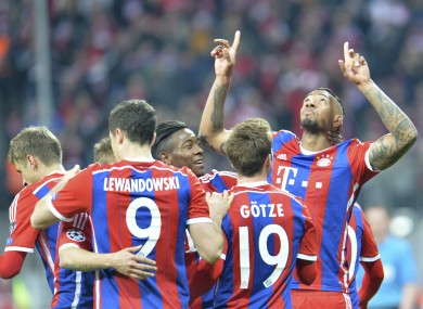 Jerome Boateng celebrates his goal for Bayern.