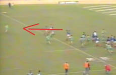 Here's Joe Schmidt in full flight kick-chasing his way to a try in '89