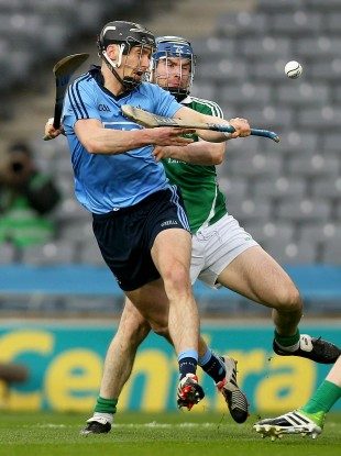 Mark Schutte of Dublin with Richie McCarthy of Limerick.