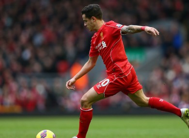 On-form: Liverpool attacker Philippe Coutinho.