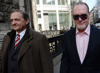Former footballers Paul Gascoigne (right) and Gary Mabbutt leave the High Court in London..