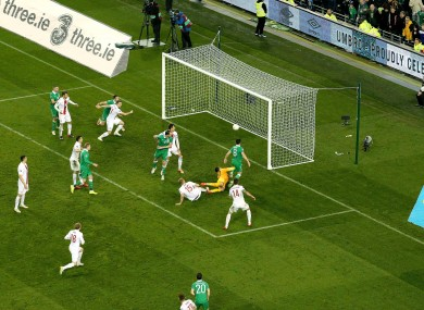 Ireland's Shane Long scores the equalising goal.