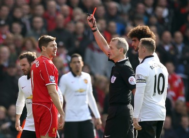 Gerrard receives his marching orders.