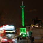 Nelson's Column in Trafalgar Square, London is lit green by Tourism Ireland in celebration ahead of St Patrick's Day, on Tuesday 17th. <span class=