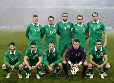 Tonight's Ireland team minus Robbie Brady, who was mysteriously absent for the team photo.
