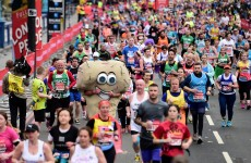A giant pair of balls has just run the London Marathon