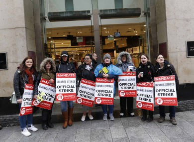 Dunnes Stores staff on strike earlier this month.