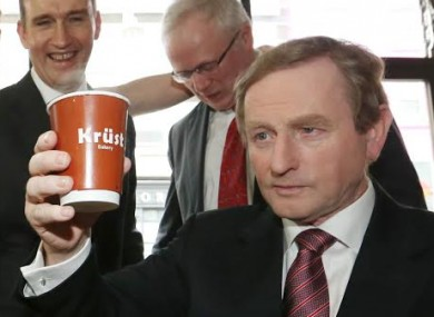 Enda Kenny with a cup of coffee that maybe he wishes was a pint.
