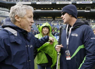 Jake Olson with Pete Carroll in 2014.