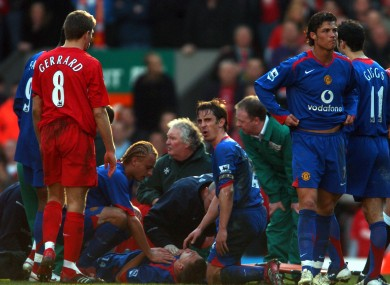 Smith receiving treatment at Anfield.
