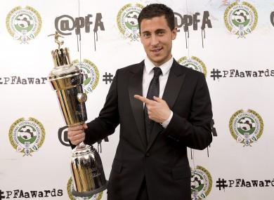 Winner of the PFA's Men's Player of the Year, Eden Hazard.