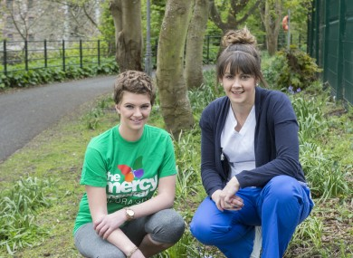 Shannen Bulman Joyce (left) and Leah Bergin, a nurse in St Therese's Ward at the Mercy University Hospital.