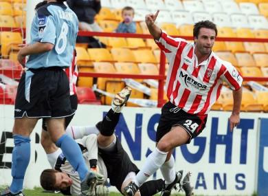 Darren Kelly celebrating a goal for Derry City back in 2006.