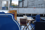 The deck of the The Grey Owl, DoSpace's co-working office in the Dublin docks