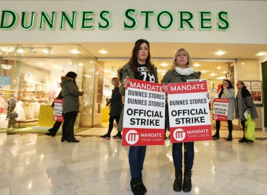 File photo of staff protesting outside Dunnes Stores.