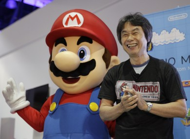 Mario and its creator Shigeru Miyamoto at the launch of Mario Maker at E3 last June