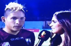 This post-game interview was going fine until the player was roundhouse kicked by Chuck Norris*