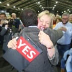 Labour Party TD John Lyons gets a hug from senator Ivana Bacik.<span class=