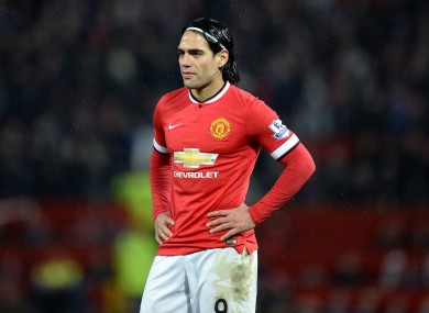 Radamel Falcao has scored four goals in 17 starts for Man United.