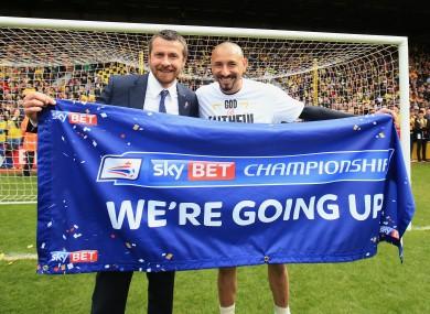 Watford manager Slavisa Jokanovic (left) and goalkeeper Heurelho Gomes celebrate promotion.