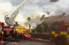 Thatched cottages on fire in Adare, Limerick