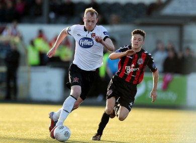 Dundalk's Chris Shields and Keith Buckley of Bohs.
