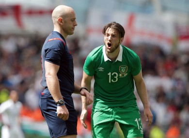 Ireland's Harry Arter appeals for a late penalty to referee Arnold Hunter.