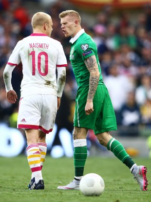 Naismith squares up to James McClean.
