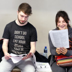 Pictured (LtoR) Michael Fnglas from Lexlip and Sian Kieran from Finglas do some last minute revision ahead of their first Leaving Cert Exam English Paper.<span class=