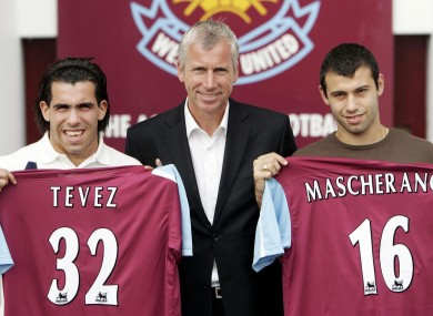 Carlos Tevez (left) and Javier Mascherano with West Ham manager Alan Pardew in 2006.