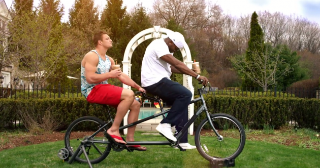 Gronk and David Ortiz singing on a tandem bike is the weirdest ad you'll see