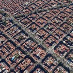 This central area of Barcelona, Spain, has a population 5 million and a density 16,000 people per square mile, making it one of the most densely populated places in the world.<span class=