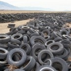 The end of the road for these tires is a desert dumping ground in Nevada. The land used to be a recreation area until around 2006, when it became a place to unload all sorts of items that people no longer needed.<span class=