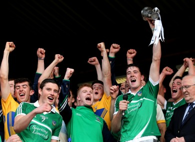 Limerick captain Diarmuid Byrnes lifts the trophy after their Munster U21 final win.