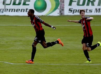 Ismahil Akinadi of Bohs celebrates scoring the first goal of the game.