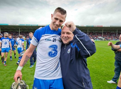 McGrath and Maurice Shanahan celebrate as Waterford march on.