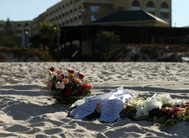 Tributes remain on the beach near the RIU Imperial Marhaba hotel in Sousse, Tunisia, following the terror attacks on the beach.