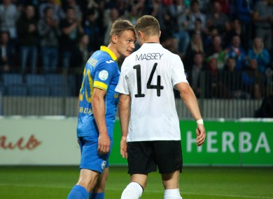 Rodionov appears to headbutt Massey after his side's second goal.