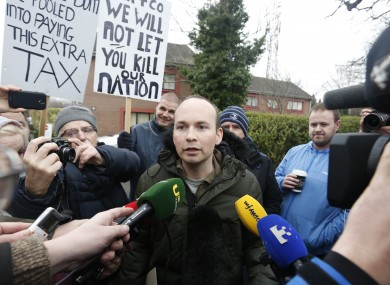 Paul Murphy speaking to the media outside Terenure Garda Station last February.