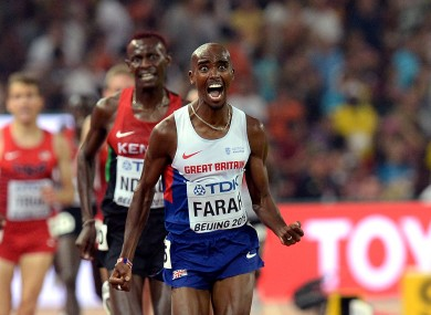 Farah wins the Men's 5000m Final during day eight of the IAAF World Championships.