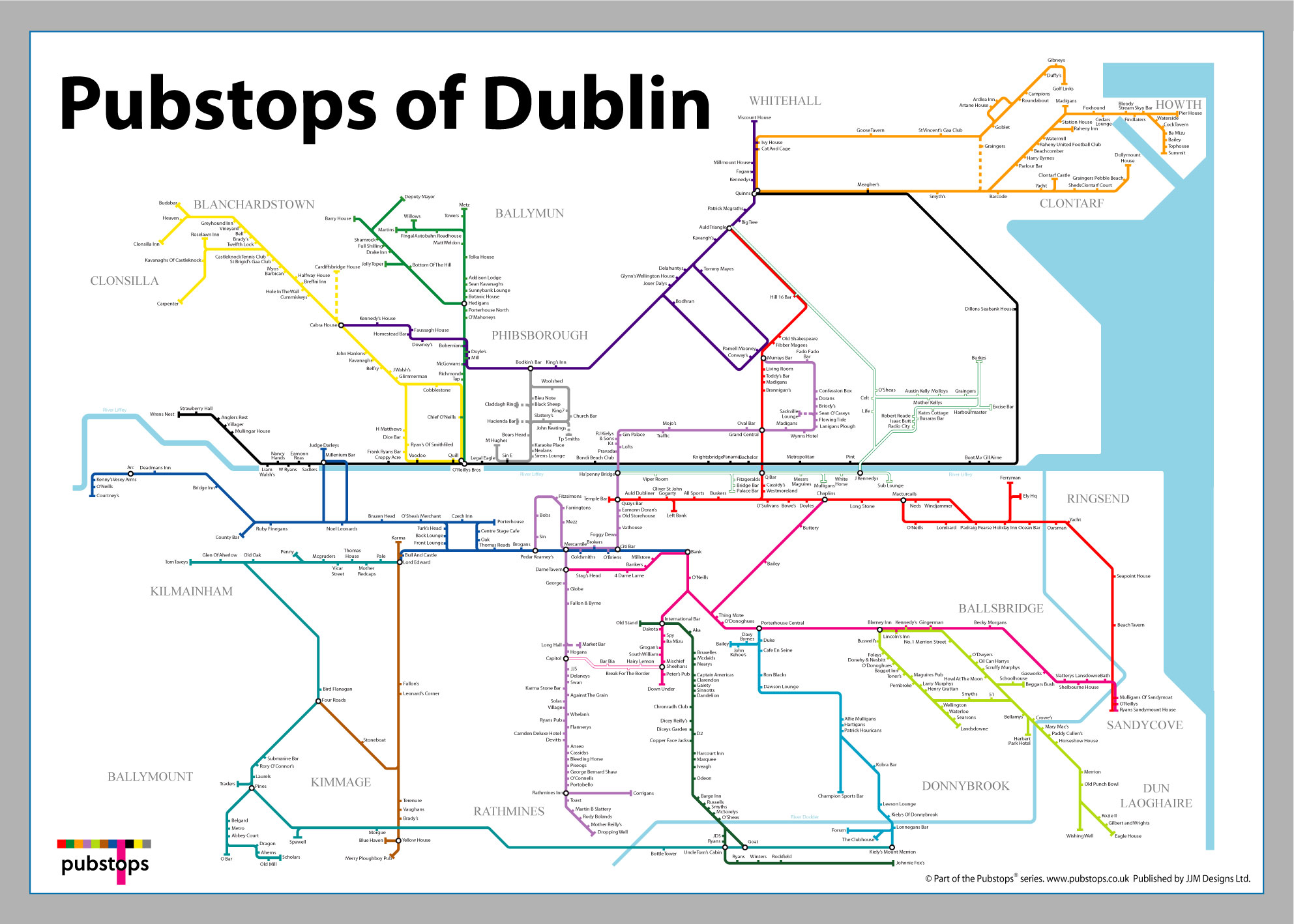 This metro-style map of Dublin bars is the ultimate pub crawl