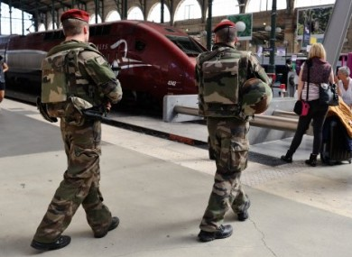 French soldiers patrol at Gare du Nord train station in Paris, France.